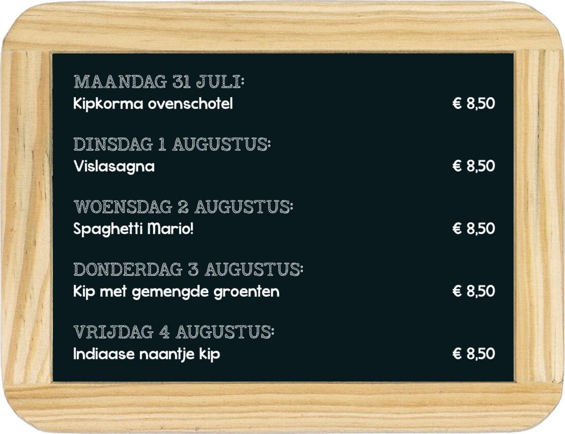 Dagmaaltijd menu 10 t/m 14 december