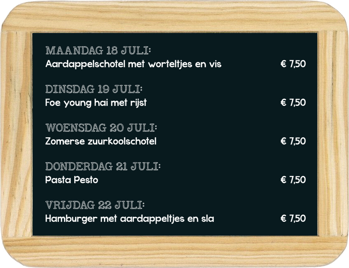 Dagmaaltijd menu 11 t/m 15 februari