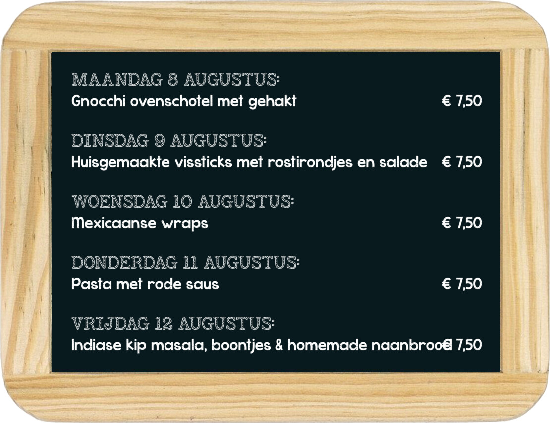 Dagmaaltijd menu 9 t/m 13 september