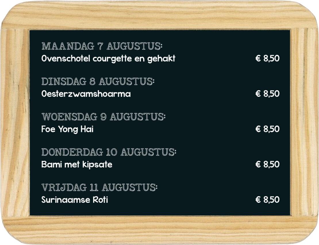 Dagmaaltijd menu 1 t/m 5 maart