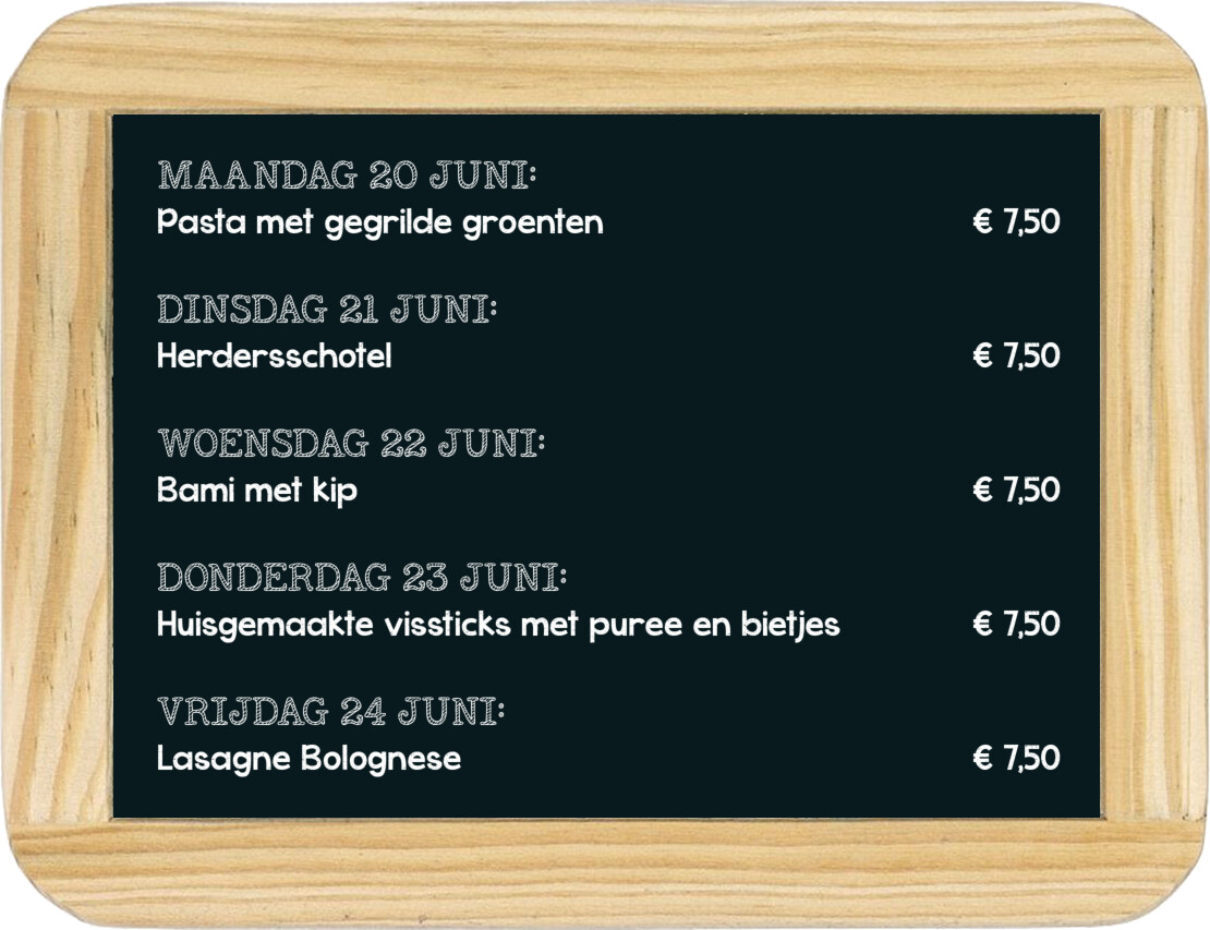 Dagmaaltijd menu 12 t/m 16 april